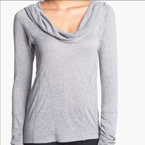 Zella Gray Cowl Neck Pullover Ruched Back L Top